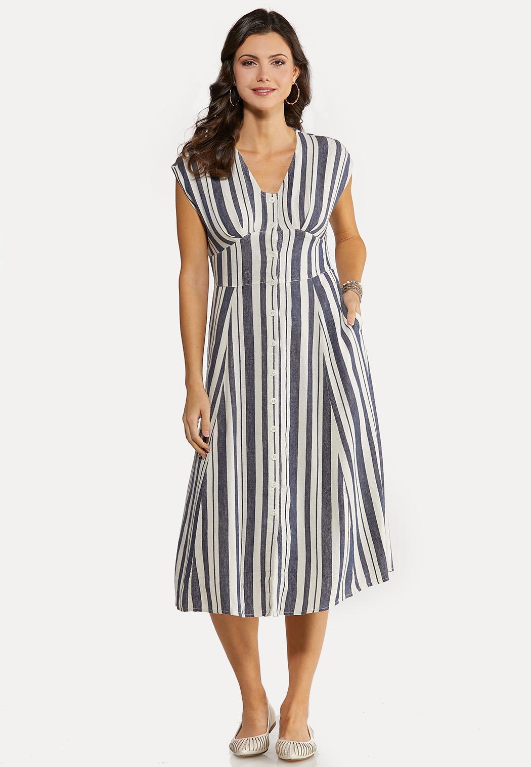 Stripe Linen Midi Dress