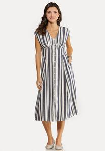 Stripe Linen Midi Dress