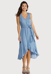 Plus Size Ruffled Chambray Dress