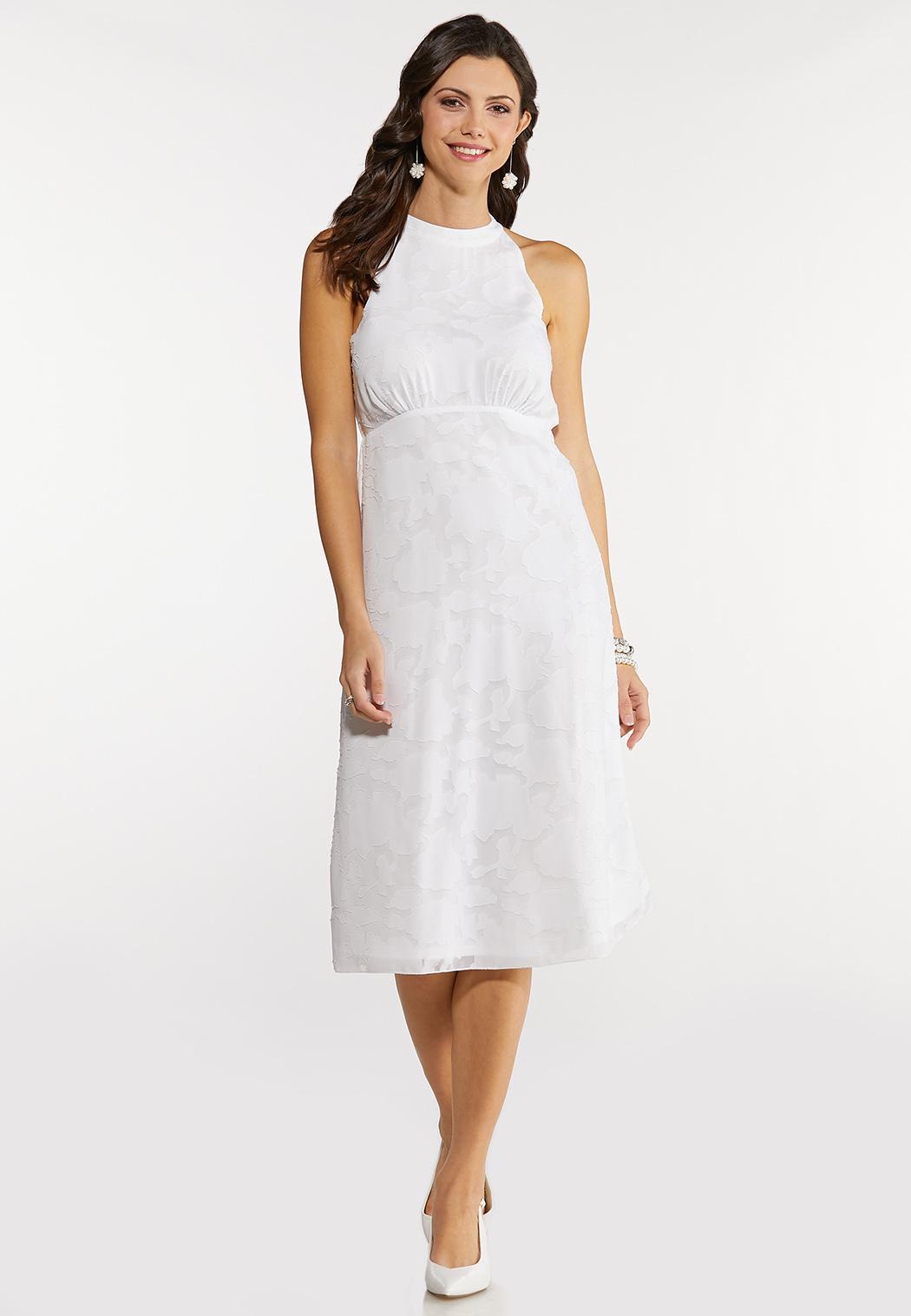 White Jacquard Midi Dress