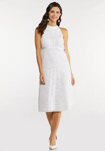 White Jacquard Midi Dress