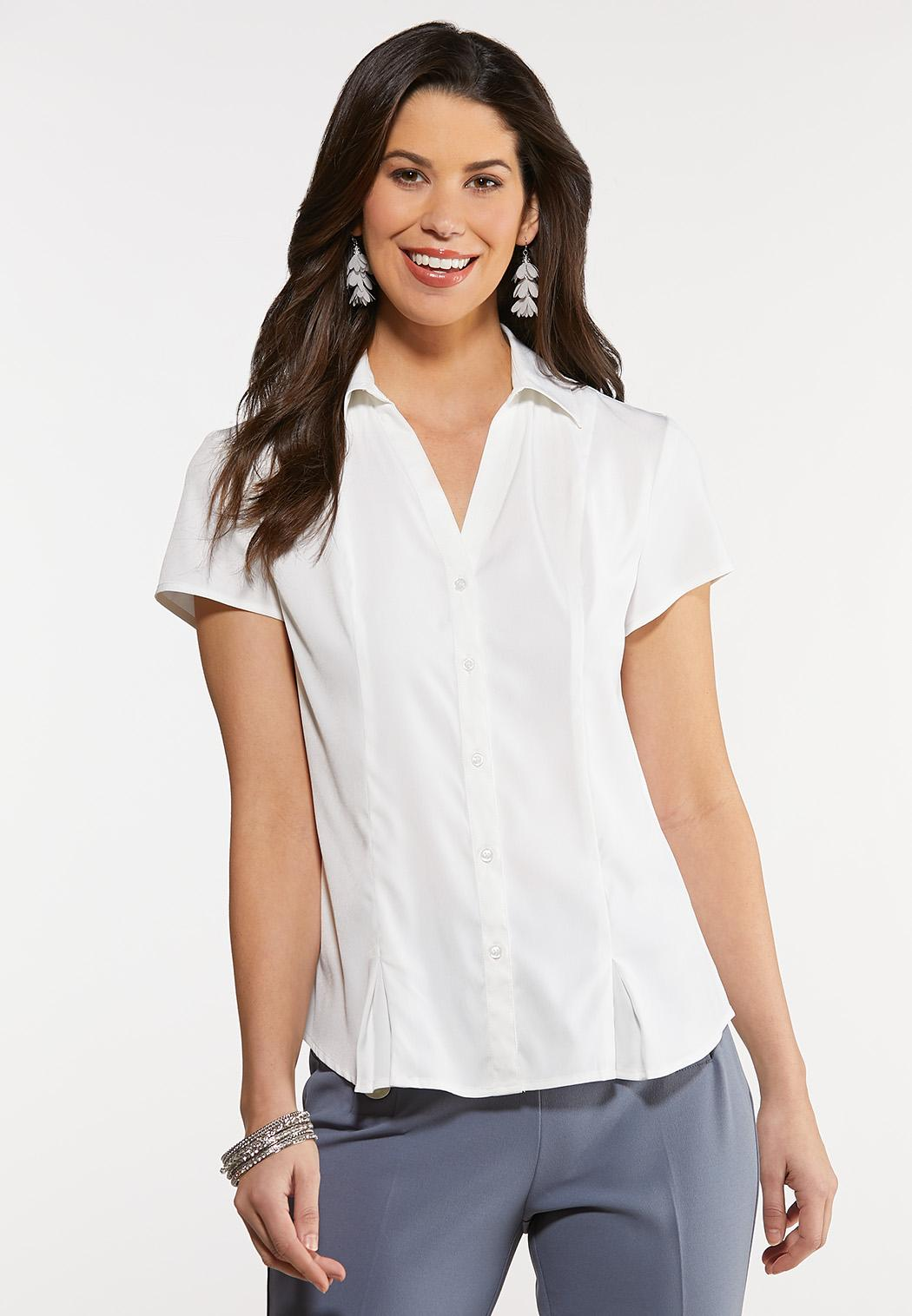 Plus Size Solid Pleated Hem Top