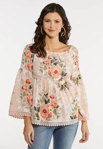 Plus Size Smocked Blush Floral Top