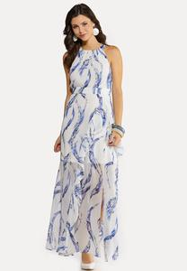 Plus Size Wavy Halter Maxi Dress