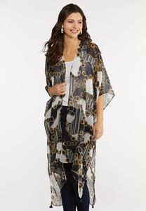 Status Print Tasseled Kimono