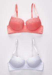 Plus Size Bright White And Coral Bra Set