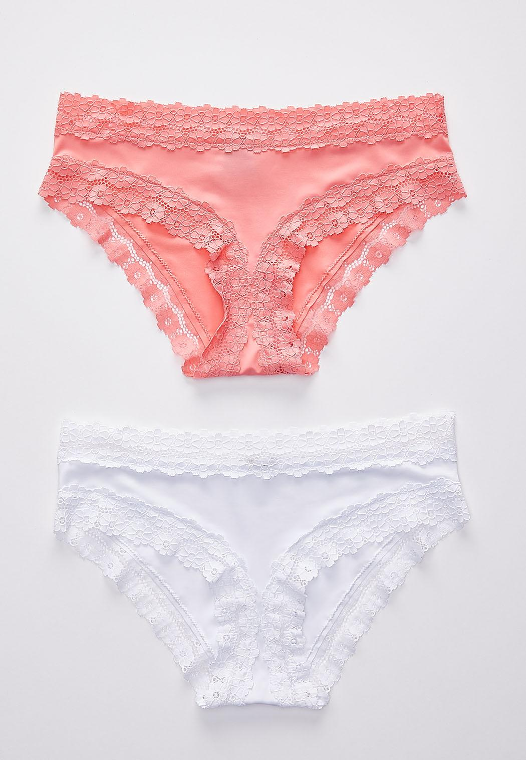 Plus Size Bright White And Coral Panty Set