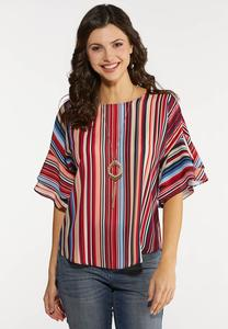 Double Ruffle Stripe Top