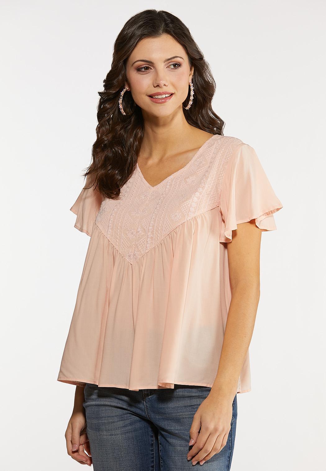 Blush Flutter Sleeve Top