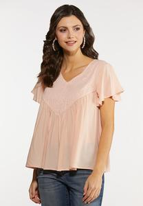 Plus Size Blush Flutter Sleeve Top