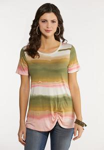 Dip Dye Ruched Stripe Top