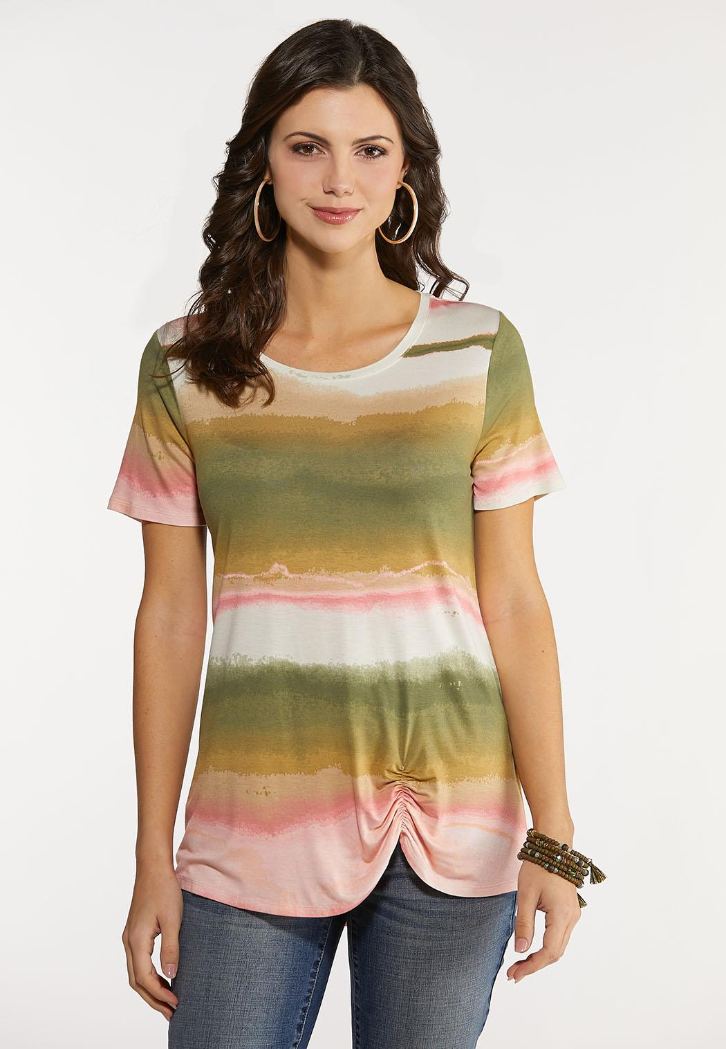 Plus Size Dip Dye Ruched Stripe Top