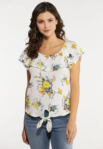 Ruffled Gauze Floral Top