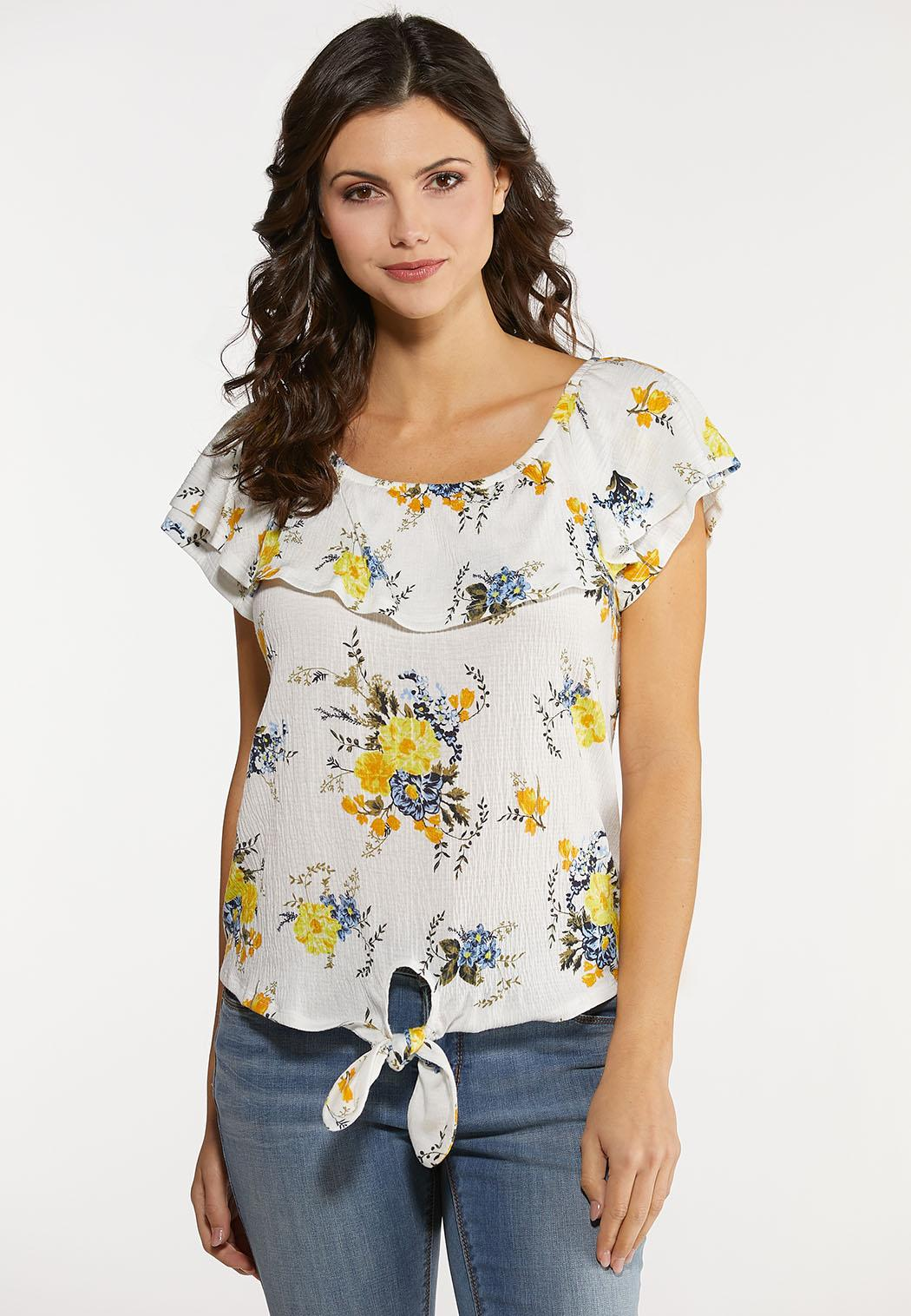 Plus Size Ruffled Gauze Floral Top