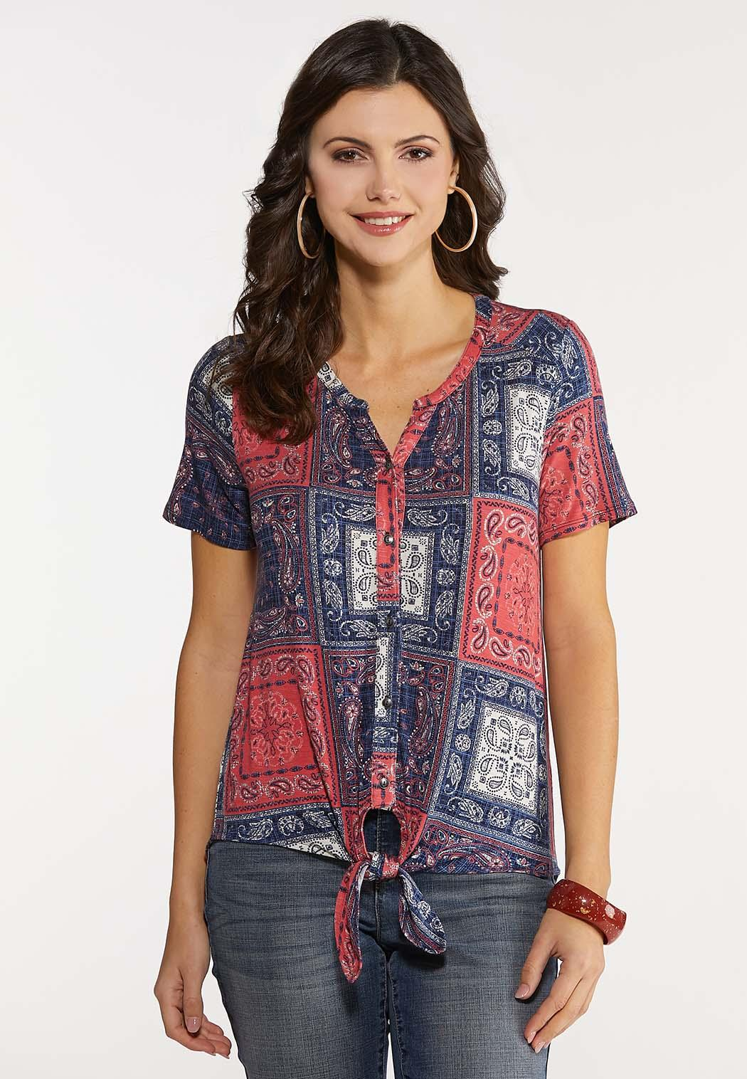 Plus Size Knotted Patchwork Paisley Top