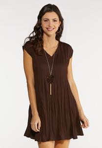 Brown Pleated Swing Dress
