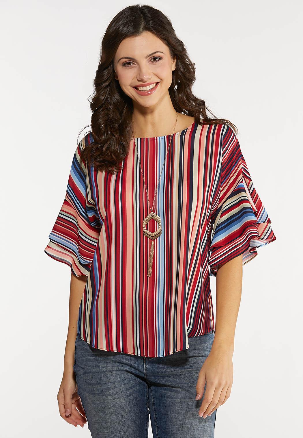 Plus Size Double Ruffle Stripe Top