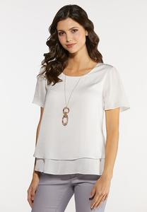 Plus Size White Layered Top