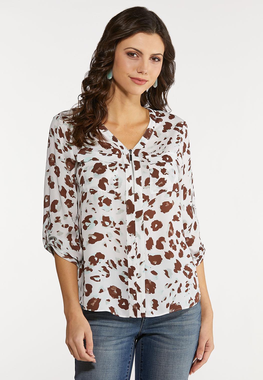 Plus Size Aqua Leopard Utility Shirt