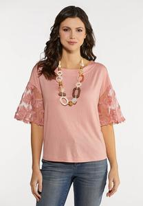Embellished Mesh Sleeve Top