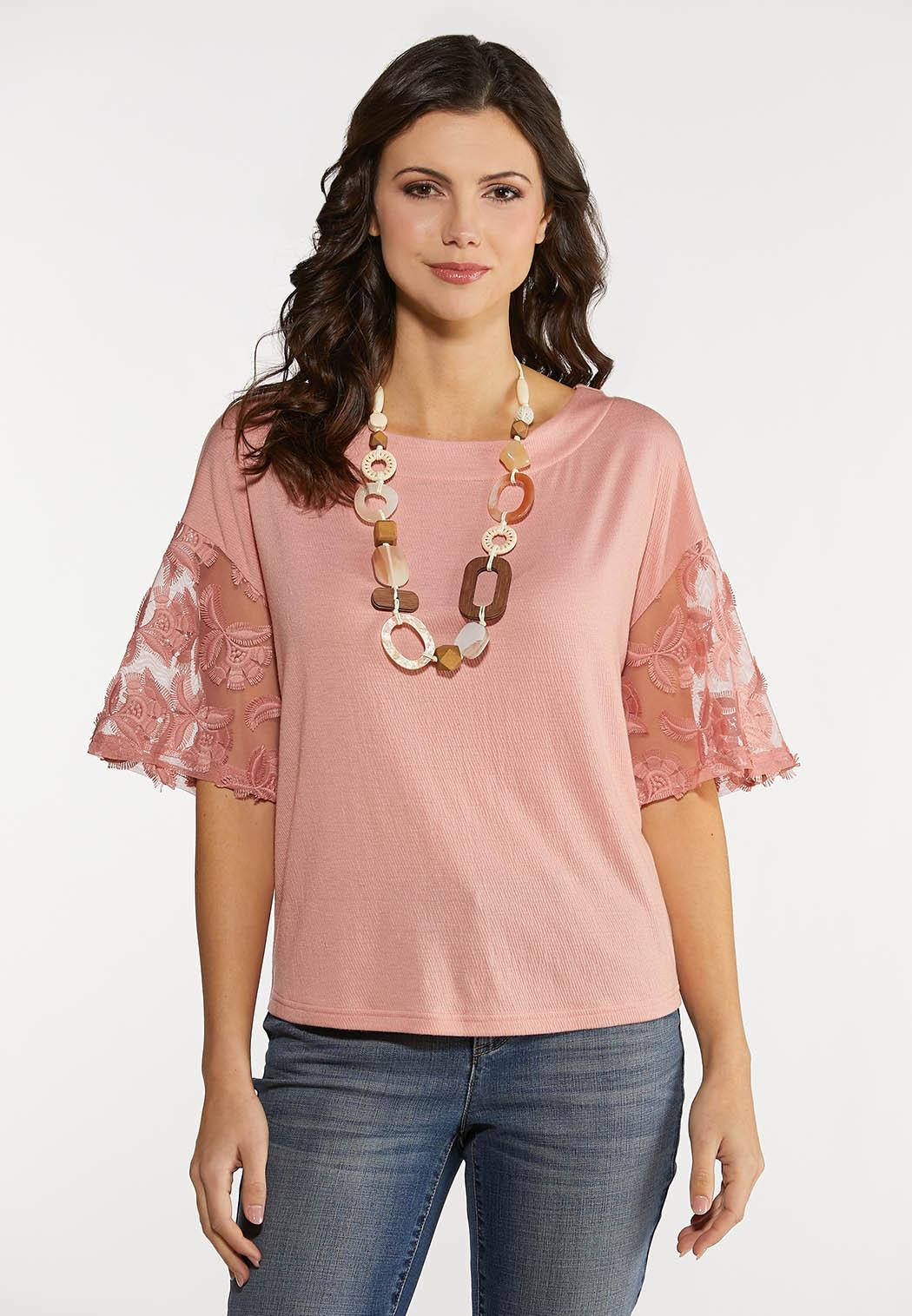 Plus Size Embellished Mesh Sleeve Top