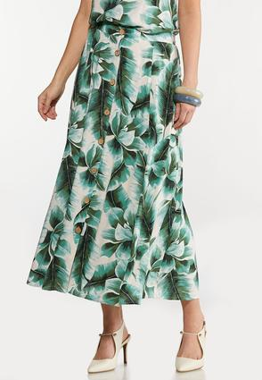 Plus Size Tropical Palm Button Front Skirt
