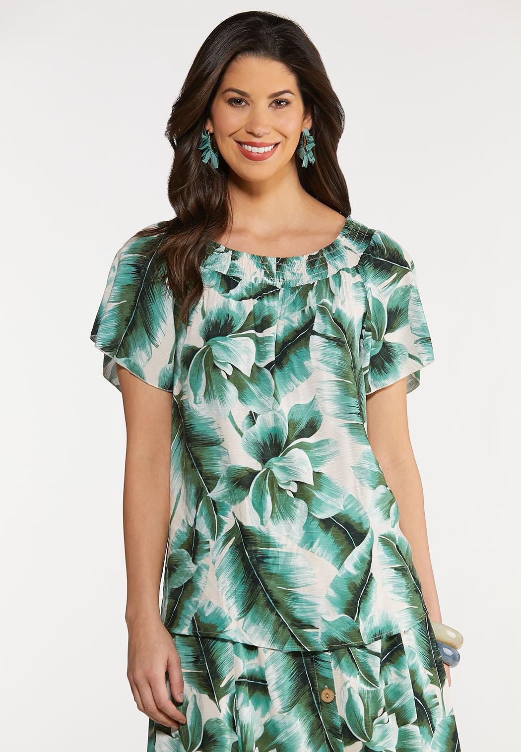 Plus Size Tropical Palm Poet Top