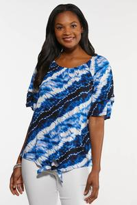 Plus Size Blue Tie Dye Poet Top