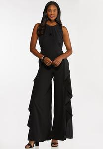 Plus Size Wide Leg Ruffle Jumpsuit