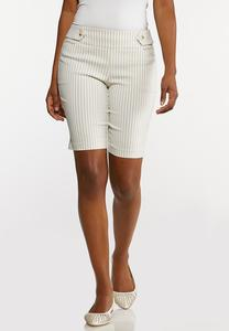 Striped Bengaline Bermuda Shorts