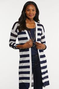 Navy Stripe Cardigan Sweater