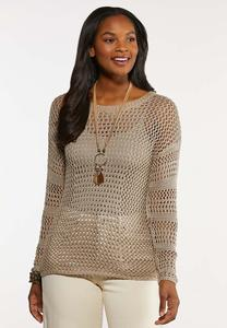 Plus Size Open Stitch Pullover Sweater
