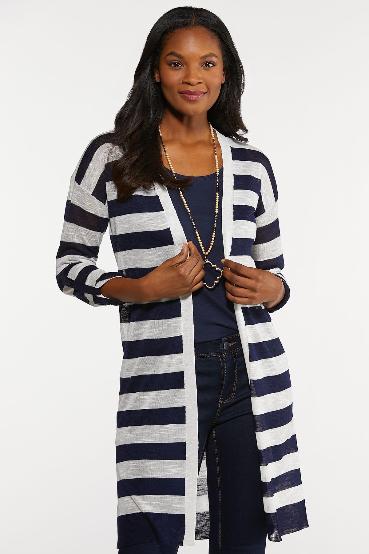 Plus Size Navy Stripe Cardigan Sweater