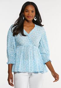 Plus Size Sky Blue Ruffled Poet Top