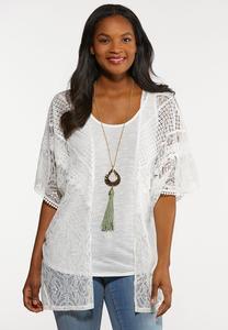 Plus Size Ivory Lace Cardigan Set