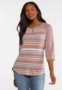 Plus Size Striped Baseball Top