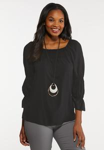 Plus Size Smocked Sleeve Poet Top