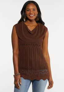 Plus Size Brown Cowl Neck Sweater