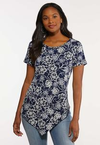 Plus Size Pointed Hem Floral Top