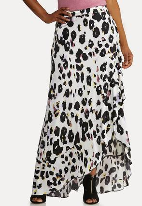 Plus Size Leopard Faux Wrap Skirt
