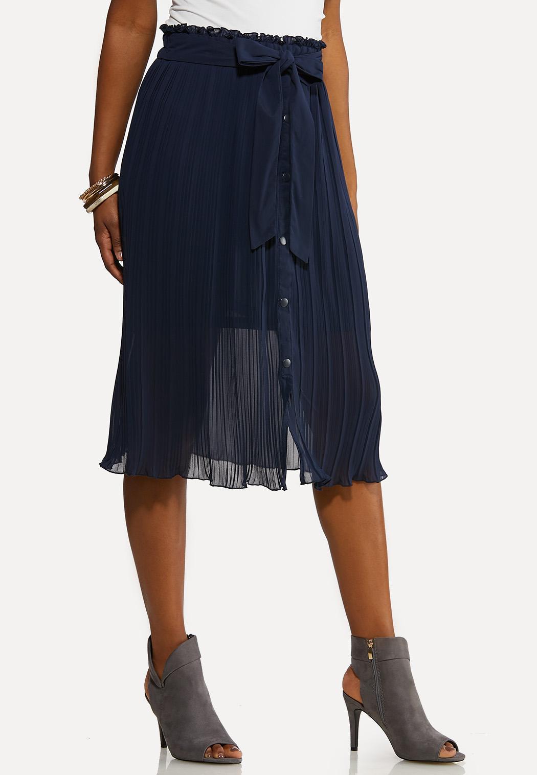 Sheer Pleated Midi Skirt