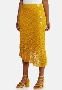Gold Lace Midi Skirt