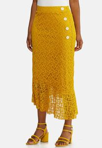 Plus Size Gold Lace Midi Skirt