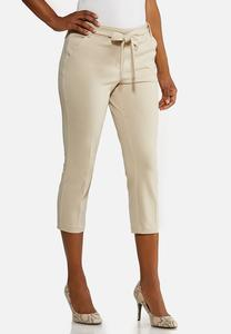 Cropped Tie Waist Pants