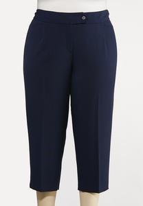 Plus Size Cropped Stretch Trouser Pants