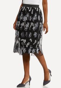 Plus Size Floral Mesh Skirt