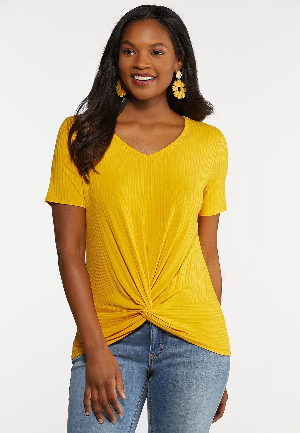 Plus Size Ribbed Twisted Tee