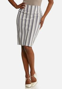 Plus Size Stripe Pencil Skirt
