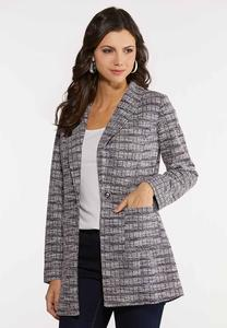 Plus Size Speckled Boucle Jacket