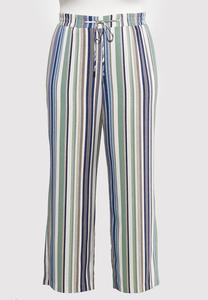 Plus Size Textured Stripe Pants